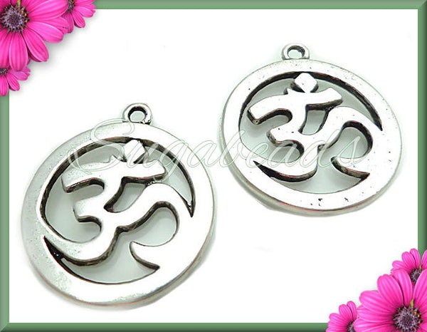 4 Silver Ohm Charms - Yoga Charms - Meditation Charms Antiqued Silver 29mm PS67