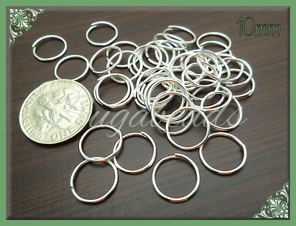100 - 10mm Silver Plated Open Jump Rings  22 Gauge JRSP3