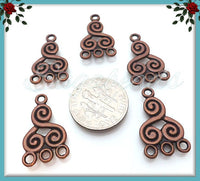 8 Antiqued Copper Spiral Connectors, Chandelier Earring Findings 21mm, Copper Connectors, JC1 - sugabeads