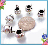 6 Silver Witch Cauldron Charms, Silver Cauldron Pot, Halloween Charms, 12mmx 8mm Witch Kettle, PS51