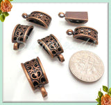 10 Antiqued Copper Rectangle Heart and Flower Motif Bails 20mm