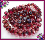 10 Faceted Red Rondelle Beads - Cranberry Red Beads, Picasso Beads, 10mm x 6mm Rondelles, CZN44