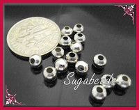 250 Round Silver Plated Beads 4mm 25grams, PS10