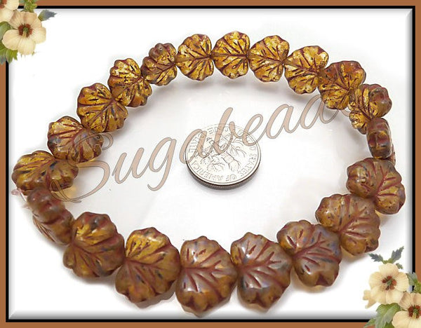 10 Honey Amber Glass Leaves, Picasso Czech Glass Beads 10mm x 13mm