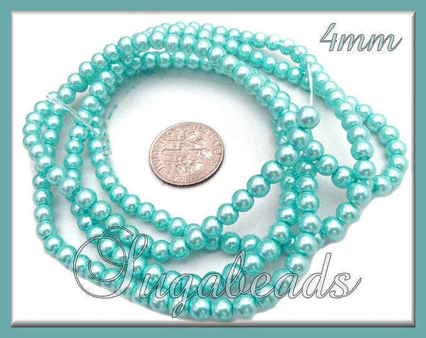 200 Light Blue Glass Pearl Beads, 4mm Glass Pearls, Blue Pearls - sugabeads