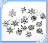 10 Mixed Snowflake Charms, Winter Charms, Antiqued Silver Snowflake Pendants, PS122 - sugabeads