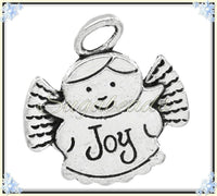 6 Antiqued Silver Angel with Halo Charms - Stamped Message Joy - 26mm PS117