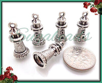 30 Antiqued Silver Lighthouse Charms 20mm - Bulk Buy PS69