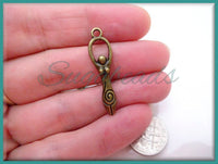 10 Antiqued Brass Spiral Goddess Charm Beads 32mm PB6