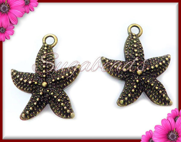 12 Antiqued Brass Starfish Charms 22mm PB45