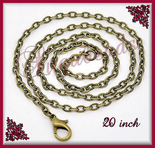 Bulk Pack - 12 Antiqued Brass Chains, Flat Cable Chains 20 inch Bronze Chains, Necklace Chains, CB2A
