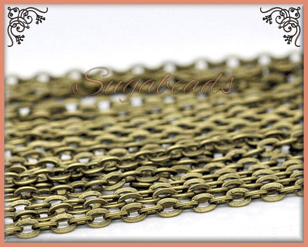 Unfinished Antiqued Brass Flat Chain - Flat Cable Chain 32 feet Chain - 10 Meters Chain -CBC4