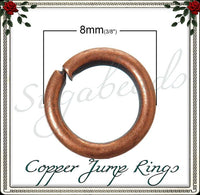 100 Copper Tone Jump Rings 18 Gauge 8mm JRCT2 - sugabeads