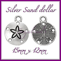 20 Antiqued Silver Sand Dollar Charms, 15mm Sand Dollars, Beach Charms, PS111