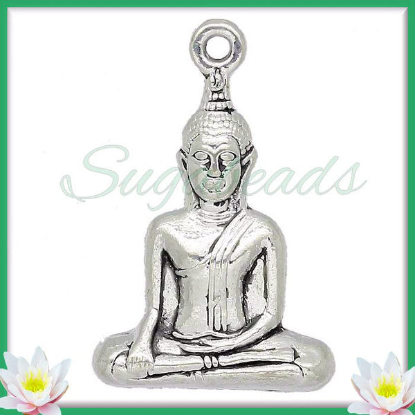 2 Buddha Pendants - Meditation Pendants - Yoga Pendants Antiqued Silver 35mm PS66