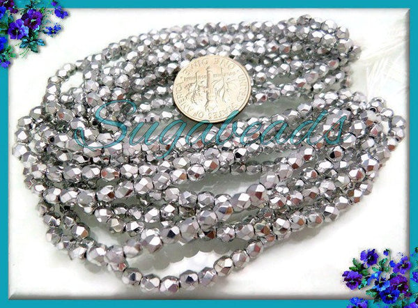 50 Antiqued Silver Faceted Czech Glass Beads - Fire Polished Silver Czech Glass Beads - 4mm CZN16