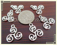 Bulk Pack 25 Celtic Knot Charms - Silver Plated Triskelion Charms 16mm PS41