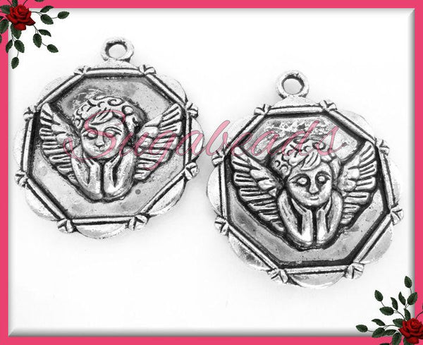 4 Antiqued Silver Cupid Charms - Angel Charms PS106