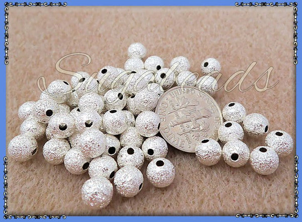 50 Stardust Round Beads 6mm Silver Plated Copper, 6mm Stardust Beads - sugabeads