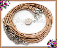 10 Beige Cord Necklaces - Tan Cord Necklace Cords 17 inch, Light Brown Cords, Finished Cords