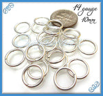 100 Silver Plated Jump Rings, 10mm Jump rings, 14 Gauge Jump Rings, JRSP2