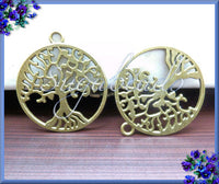 5 Round Antiqued Brass Tree Charms 28mm PB48