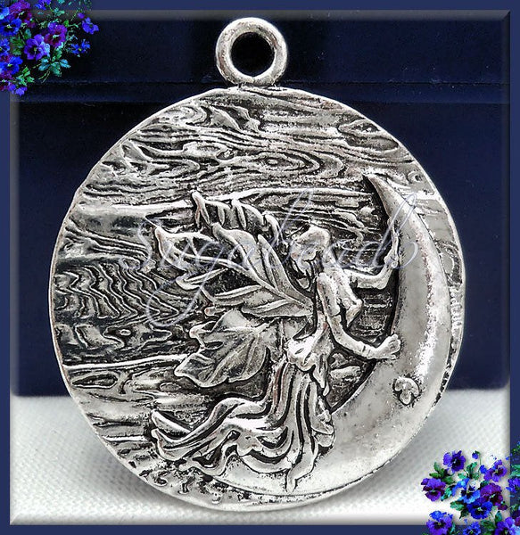 3 Round Silver Moon Pendants - Silver Fairy Moon Goddess Pendants 38mm PS48