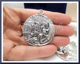 3 Round Silver Moon Pendants - Silver Fairy Moon Goddess Pendants 38mm PS48 - sugabeads