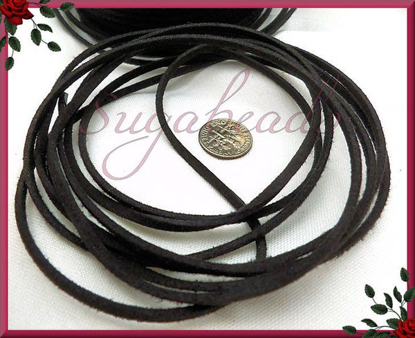12 Feet Black Faux Suede Cord 2.5mm x 1.5mm - sugabeads