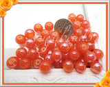 50 Tangerine Beads, Orange Glass Beads 8mm