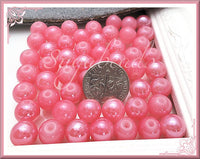 50 Sweet Round Pink Glass Beads 8mm