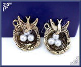 3 Antiqued Brass Bird Nest Charms w Eggs PB67