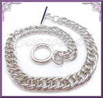 3 Blank Charm Bracelets - Silver Curb Chain Bracelets with Toggle 8 inches, CSB6