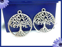 4 Antiqued Silver Tree Charms 28mm PS141