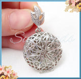2 Round Silver Filigree Lockets with Bail 32mm PS28