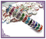 50 Mixed Silver Plated Crystal Rondelle Spacers 8mm