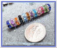30 Mixed Silver Plated Rhinestone Rondelle Spacer Beads 8mm - sugabeads