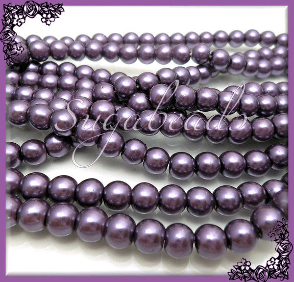 1 Strand Dark Purple Glass Pearls, Dark Purple Round Beads 6mm 6GP3