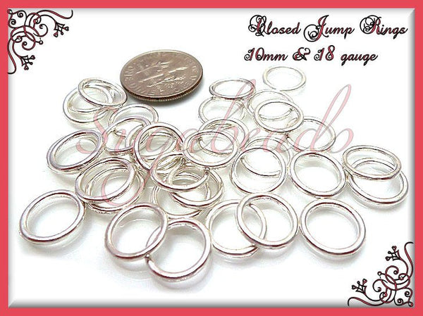 50 - 10mm Silver Plated Closed Jump Rings 18 Gauge JRSP4