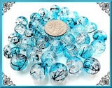 40 Ocean Blue Glass Beads, Frost White Beads with Black Stripes, Glass Crackle Beads 10mm