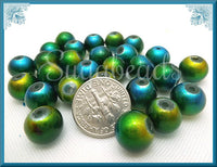 40 Round Peacock Glass Beads - Blue Green Yellow Beads 10mm - sugabeads