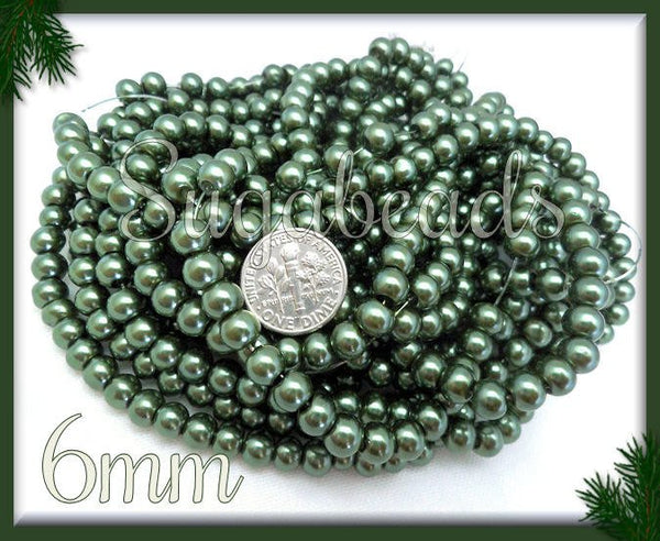 1 Strand Forest Green Glass Pearls 6mm 6GP5