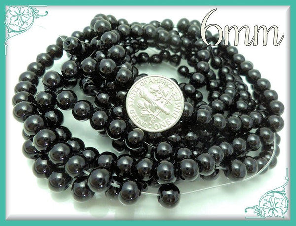 1 Strand Black Glass Pearls 6mm 6GP1