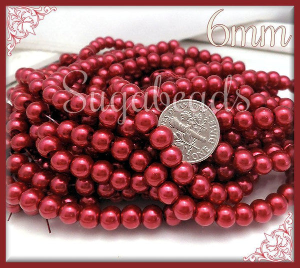 1 Strand Raspberry Red Glass Pearls 6mm, Red Glass Pearls, 6GP2 - sugabeads