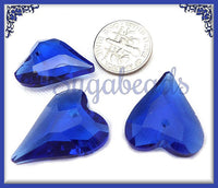 2 Royal Blue Faceted Crystal Heart Pendants 21mm