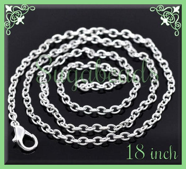 Pack of 12 Silver Plated Finished Chains - Cable Chains 18 inches - sugabeads