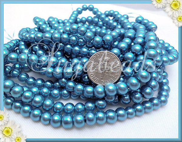 Powder Blue Glass Pearls, 6mm Round Pearl Beads, Blue Faux Pearls, 6GP4