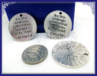 3 Silver Stamped Pendants Gandhi Quote Be The Change You Want To See in the World 24mm PS85