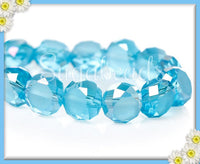 30 Blue Faceted AB Crystal Beads 8mm - Blue Crystal Coin Beads