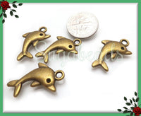 10 Bronze Dolphin Charms 23mm, PB68